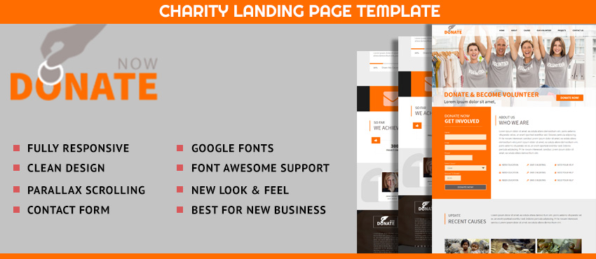 Donate Now - Best Landing page template for Fundraising